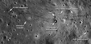 image of the moon showing human activity
